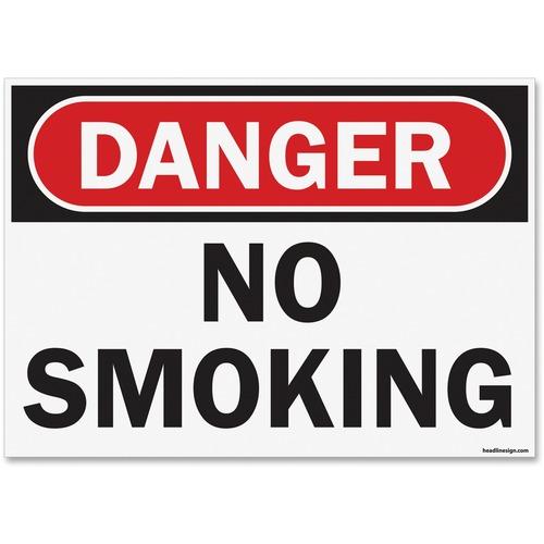 "U.S. Stamp & Sign OSHA Danger No Smoking Sign - 6 / Pack - Danger No Smoking Print/Message - 14"" (355.60 mm) Width x 10"" (254 mm) Height - Rectangular Shape - UV Resistant, Abrasion Resistant, Moisture Resistant, Chemical Resistant - Styrene - Black, Whit"