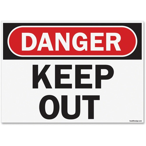 "U.S. Stamp & Sign OSHA Danger Keep Out Safety Sign - 1 Each - Danger Keep Out Print/Message - 14"" (355.60 mm) Width x 10"" (254 mm) Height - Rectangular Shape - UV Resistant, Abrasion Resistant, Moisture Resistant, Chemical Resistant - Styrene - Black, Whi"