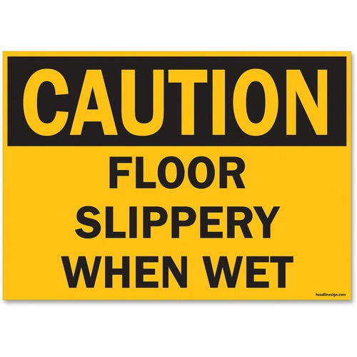 "U.S. Stamp & Sign OSHA Slippery When Wet Sign - 1 Each - Caution Slippery When Wet Print/Message - 14"" (355.60 mm) Width x 10"" (254 mm) Height - Rectangular Shape - UV Resistant, Abrasion Resistant, Moisture Resistant, Chemical Resistant - Styrene - Black"