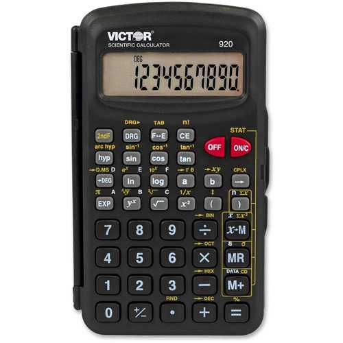 """Victor 10-Digit Compact Scientific Calculator - Protective Hard Shell Cover, Battery Backup, Easy-to-read Display, Large Display, Dual Power, Hinged Cover - 1 Line(s) - 10 Digits - LCD - Battery/Solar Powered - 4.5"""" x 2.6"""" x 0.5"""" - Black - Plastic - 1 Eac"""
