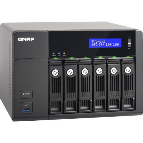 QNAP Network Attachment Storage TVS-671-i3-4G-US 6Bay Ci3-4150 4GB DDR3 SATA 10GbE PCI-Express with