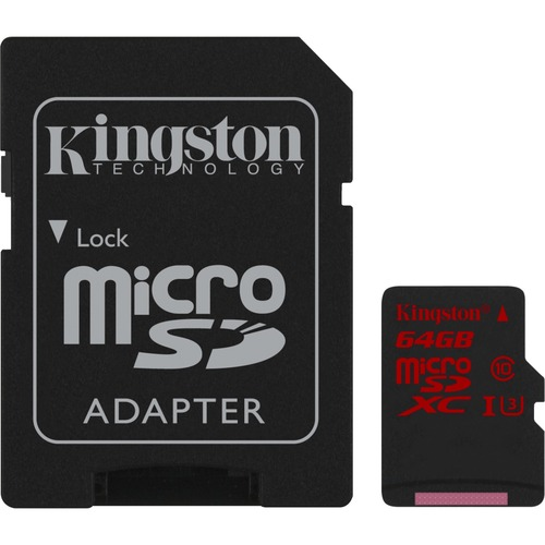 Kingston 64 GB microSDXC - Class 3/UHS-I - 90 MB/s Read - 80 MB/s Write - 1 Card