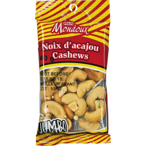 Mondoux Salted Jumbo Cashew Nuts - Salty - 1 Serving Bag - 40 g - 1 / Pack