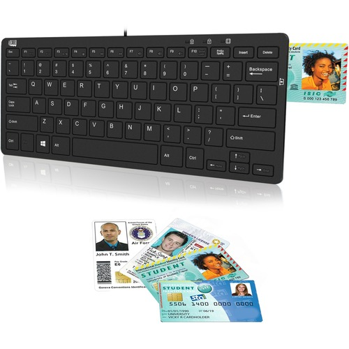 Adesso SlimTouch 510R - Mini Keyboard with Smart Card Reader and USB Hubs