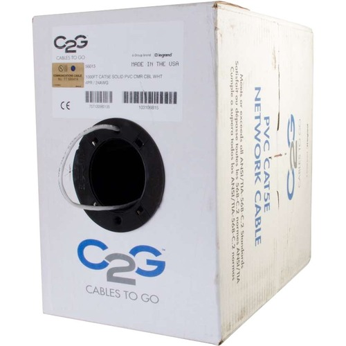 C2G 1000FT CAT5E WHT UNSHIELDED CMR-RATED CABL W/ SOLID CONDUCTOR