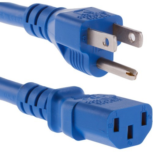 Unirise 1ft Blue Desktop/ Monitor/ TV Power Cord, 5/15P-C13, SVT, 10amp, 125V