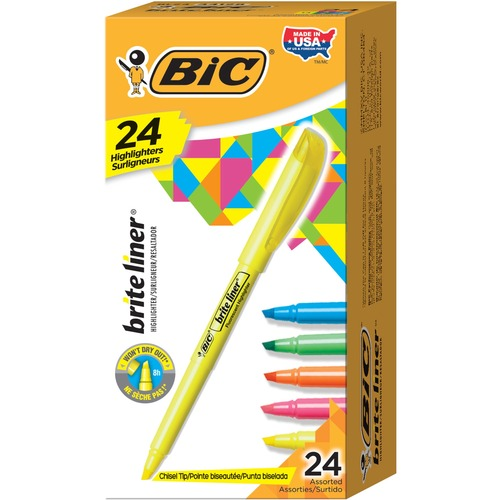 BIC Brite Liner Highlighters - Chisel Marker Point Style - Fluorescent Pink, Fluorescent Yellow, Fluorescent Blue, Fluorescent Green, Fluorescent Oran