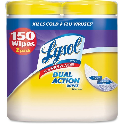 Lysol Dual Action Cleaning Wipes - Wipe - Citrus Scent - 75 / Canister - 2 / Pack - White