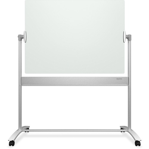 """Quartet Infinity Magnetic Glass Easel, 4 Caster, 4' x 3' - 48"""" (4 ft) Width x 36"""" (3 ft) Height - White Tempered Glass Surface - Rectangle - Floor Standing - 1 Each"""