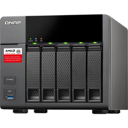 QNAP Turbo NAS TS-563 5 x Total Bays NAS Server - Tower - AMD Quad-core 4 Core 2 GHz - 8 GB RAM DDR3 SDRAM - Serial ATA/600 - RAID Supported 0, 1, 5, 6, 10, Hot Sp