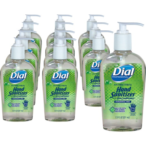 Dial Sanitizing Gel - 7.50 oz - Pump Bottle Dispenser - Kill Germs, Bacteria Remover, Mold Remover, Yeast Remover - Hand - Fragrance-free, Dye-free -