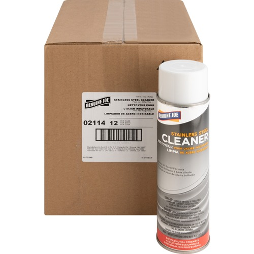 Genuine Joe Stainless Steel Cleaner - Aerosol - 15 fl oz (0.5 quart) - Can - 12 / Carton - Multi