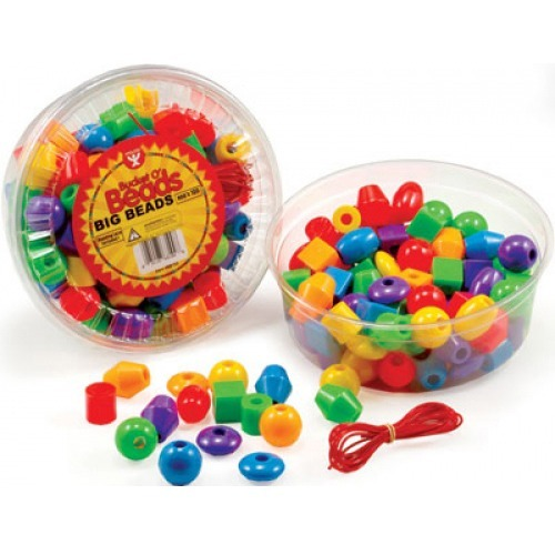 Hygloss Big Beads - Fun and Learning, Craft Project - Recommended For 3 Year - Assorted - Plastic