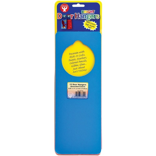 """Hygloss Bright Door Hangers - 12 Count Assorted Colors - Fun Theme/Subject - Precut, Sturdy, Tear Resistant, Wear Resistant, Fade Resistant - 11"""" (279.4 mm) Height x 4"""" (101.6 mm) Width - Assorted - Paper - 12 / Pack"""