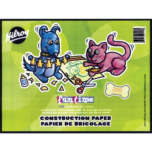 """Hilroy Funtime Construction Paper - 9"""" (228.60 mm)Width x 12"""" (304.80 mm)Length - 200 / Pack"""