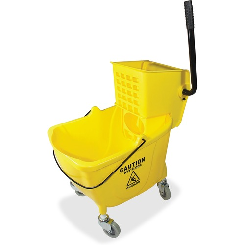 "Genuine Joe 35 QT Side Press Mop Bucket Wringer Combo - 33.12 L - Caster - 21"" (533.40 mm) x 16"" (406.40 mm) x 14"" (355.60 mm) - Yellow - 1 Each"