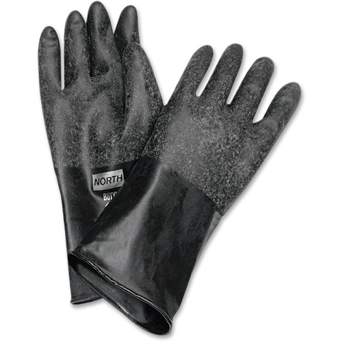 """NORTH 14"""" Unsupported Butyl Gloves - Chemical Protection - 8 Size Number - Butyl - Black - Water Resistant, Durable, Chemical Resistant, Ketone Resistant, Rolled Beaded Cuff, Comfortable, Abrasion Resistant, Cut Resistant, Tear Resistant, Puncture Resista"""