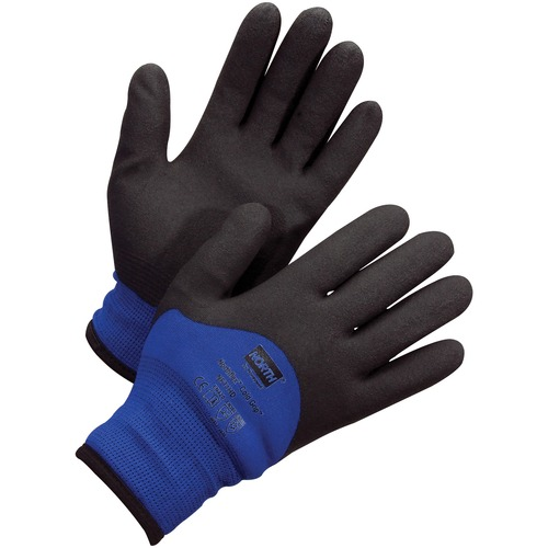 NORTH Northflex Coated Cold Grip Gloves - Weather Protection - Medium Size - Nylon Shell, Polyvinyl Chloride (PVC) Palm, Polyamide, Synthetic Liner, Foam - Blue, Black - Heavyweight, Insulated, Flexible, Shock Absorbing, Vibration Resistant, Liquid Proof,