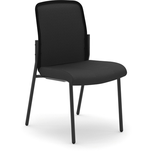 "HON Instigate Mesh Back Stacking Chair - Black Fabric Seat - Black Back - Four-legged Base - 22.3"" Width x 24"" Depth x 35.8"" Height - 1 Each"
