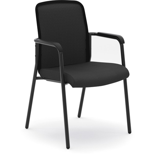 "HON Instigate Stacking Chair - Black Fabric Seat - Black Back - Four-legged Base - 22.3"" Width x 24"" Depth x 35.8"" Height - 1 Each"