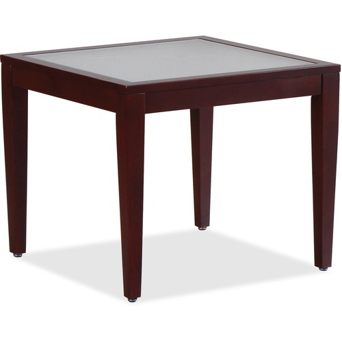 """Lorell Glass Top Mahogany Frame Table - Square Top - Four Leg Base - 4 Legs - 23.6"""" Table Top Length x 23.6"""" Table Top Width x 0.2"""" Table Top Thickness - 20"""" Height x 23.6"""" Width x 23.6"""" Depth - Assembly Required"""