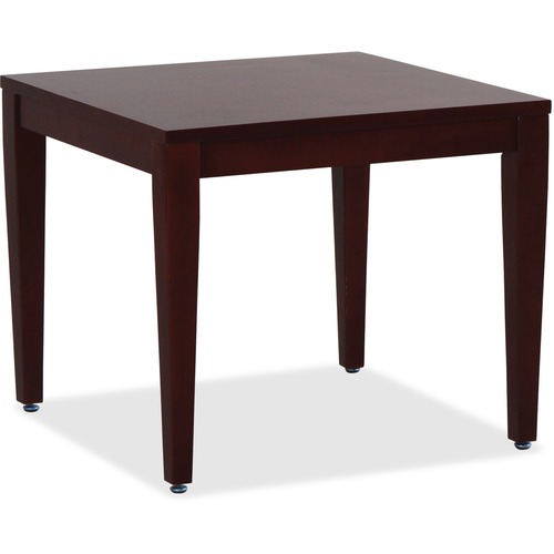 """Lorell Mahogany Finish Solid Wood Corner Table - Square Top - Four Leg Base - 4 Legs - 23.6"""" Table Top Length x 23.6"""" Table Top Width - 20"""" Height x 23.6"""" Width x 23.6"""" Depth - Assembly Required"""
