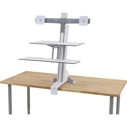 WRKFTS  DUAL SITWRKSURFCE &LRGE KYB TRAY BRGHT WHT