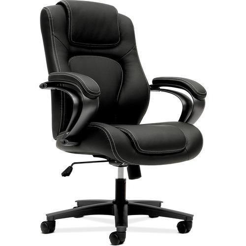 "HON Mid-Back Task Chair - Vinyl Black Seat - Black Back - 5-star Base - 26"" Width x 28"" Depth x 43.3"" Height"