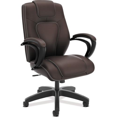 "HON High-Back Executive Chair - Vinyl Brown Seat - Brown Back - 5-star Base - 26"" Width x 28"" Depth x 46.3"" Height"