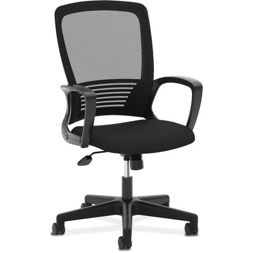 """HON Mesh High-Back Chair - Fabric Black Seat - Black Back - 5-star Base - 26.5"""" Width x 26.5"""" Depth x 44"""" Height"""