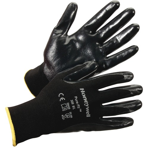 Honeywell Pure Fit Dipped General Gloves - Nitrile Coating - X-Large Size - Synthetic Fiber, Nylon Liner - Black - Lightweight, Cut Resistant, Abrasion Resistant, Durable, Splash Resistant, Comfortable, Breathable, Fatigue-free, Nick Resistant - For Assem