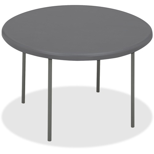 """Iceberg IndestrucTable TOO Folding Table - Round Top - Four Leg Base - 4 Legs - 2"""" Table Top Thickness x 60"""" Table Top Diameter - Charcoal, Powder Coa"""