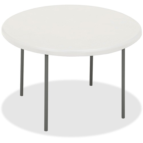 """Iceberg IndestrucTable TOO Folding Table - Round Top - Four Leg Base - 4 Legs - 2"""" Table Top Thickness x 78"""" Table Top Diameter - Platinum, Powder Coa"""