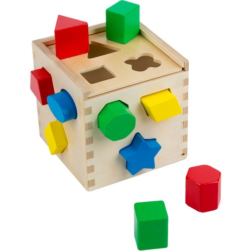 Melissa & Doug Shape Sorting Cube - Skill Learning: Problem Solving, Dexterity, Sorting, Color Identification, Shape Differentiation, Fine Motor - 2 Year & Up