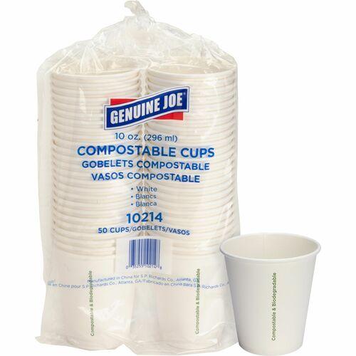 Genuine Joe Eco-friendly Paper Cups - 295.74 mL - 50 / Pack - White - Paper