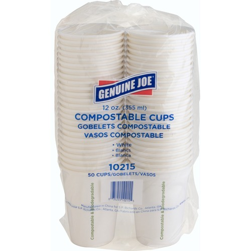 Genuine Joe Eco-friendly Paper Cups - 354.88 mL - 50 / Pack - White - Paper