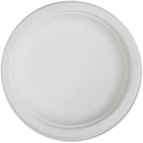 "Genuine Joe Compostable Plates - 6"" (152.40 mm) Diameter Plate - Disposable - White - 50 Piece(s) / Pack"