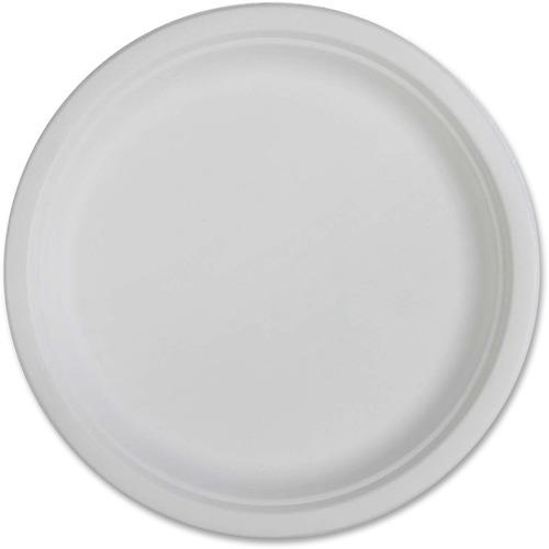 "Genuine Joe Compostable Plates - 10"" (254 mm) Diameter Plate - Disposable - White - 50 Piece(s) / Pack"