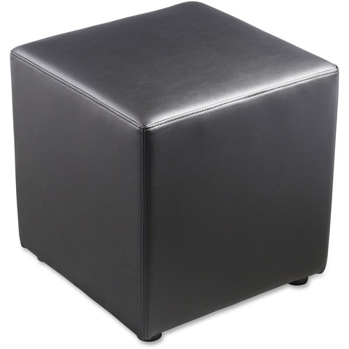 """Lorell Leather Cube Ottoman - Plywood18"""" (457.20 mm) x 18"""" (457.20 mm) x 18"""" (457.20 mm) - Leather - 1 Each"""