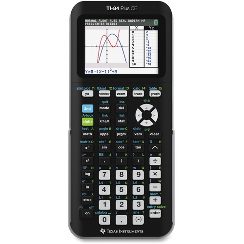 Texas Instruments TI-84 Plus CE Graphing Calculator - Backlit Display, Clock, Impact Resistant Cover - Battery Powered - Black - 1 Each
