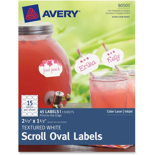 avery textured white oval labels permanent adhesive 2 1 2