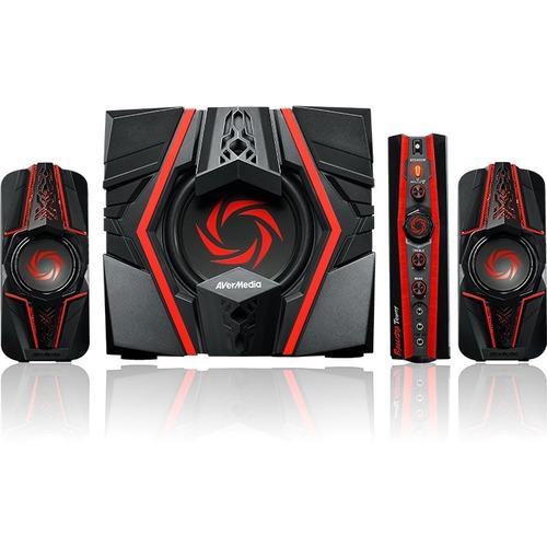 AVerMedia 2.1 Speaker System   77 W RMS   Black, Red