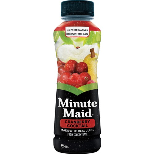 Minute Maid Cocktail Cranberry Drink - Ready-to-Drink - Cranberry Apple Flavor - 450 mL - Bottle - 12 / Carton