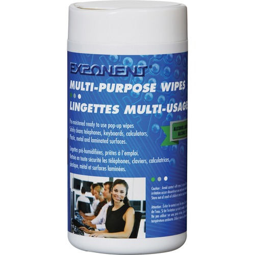 Exponent Microport Multi-purposes Wipes (100 Wipes) - For Multipurpose - Pre-moistened, Anti-static, Environmentally Safe - 100 / Tub - 1 Each - White
