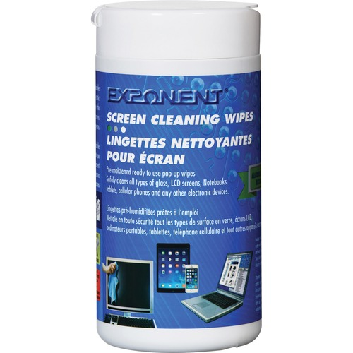 Exponent Microport Screen Cleaning Wipes - For Display Screen, Electrical Equipment, Notebook, Tablet, Mobile Phone - Pre-moistened, Streak-free, Environmentally Friendly, Anti-static - 100 / Canister - 1 Each - White