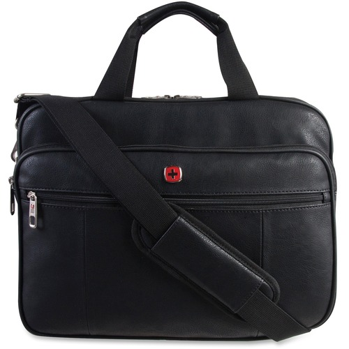"""Holiday Carrying Case for 15.6"""" Notebook - Black - Slip Resistant Shoulder Strap - Polyurethane Handle, Faux Leather Handle - Shoulder Strap, Handle, Trolley Strap - 11.50"""" (292.10 mm) Height x 15.50"""" (393.70 mm) Width x 3.75"""" (95.25 mm) Depth - 1 Pack"""