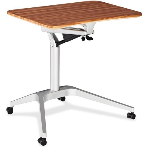 """Heartwood Gas Lift Laptop Cart - Die-cast Aluminum - x 28.1"""" Width x 18.7"""" Depth x 41"""" Height - Aluminum Frame - Brushed Aluminum, Russet Cherry - 1 Each"""