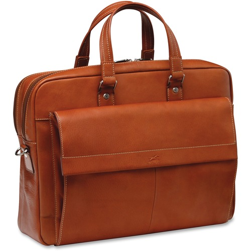 """MANCINI COLOMBIAN Carrying Case (Briefcase) for 17.3"""" Notebook - Colombian Cognac - Genuine Leather - Shoulder Strap - 12"""" (304.80 mm) Height x 16.25"""" (412.75 mm) Width x 4"""" (101.60 mm) Depth - 1 Pack"""
