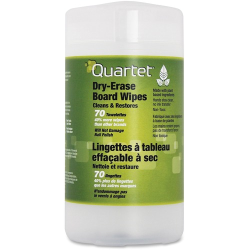 Quartet BoardWipes Surface Cleaner - Wipe - 70 / Canister - 1 Each - White