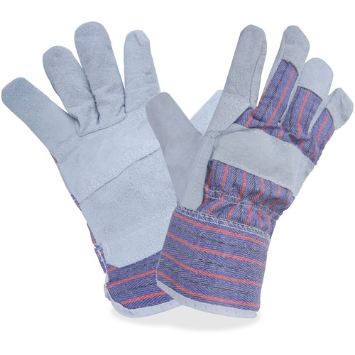 RONCO Split Leather Gloves - Large Size - Cotton Back, Leather Palm, Polyethylene Cuff - Gray, Blue - Reinforced, Knuckle Strap, Safety Cuff, Abrasion Resistant, Cut Resistant, Breathable, Comfortable - For Industrial Maintenance, Warehouse - 24 / Bag
